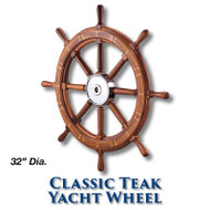 32-inch Classic Teak Yacht Wheel with 1-inch Straight Hub