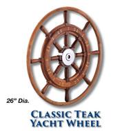 26-inch Classic Teak Yacht Wheel with Teak Rim with 1-inch Straight Hub