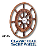 30-inch Classic Teak Yacht Wheel with Teak Rim with 1-inch Straight Hub