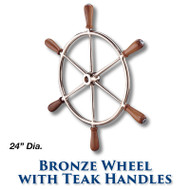 "24"" Polished Bronze Wheel with Teak Handles with 1-inch Straight Hub"