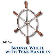 "26"" Polished Bronze Wheel with Teak Handles with 1-inch Straight Hub"
