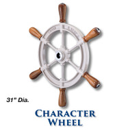 31-inch Character Wheel with Teak Handles with 1-inch Straight Hub