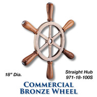 18-inch Commercial Bronze Wheel with Teak Handles with 1-inch Straight Hub