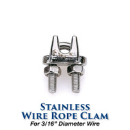 Stainless Wire Rope Clamp - 3/16-inch Wire Size