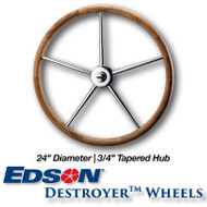 24-inch Teak Rim Destroyer Wheel - 3/4-inch Tapered Hub