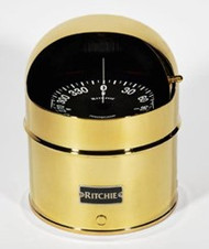 "Ritchie GlobeMaster Compass Pedestal Mount with Hood - Brass - 5"" Dial"