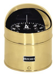 "Ritchie GlobeMaster Compass Pedestal Mount with Hood - Brass - 6"" Dial"