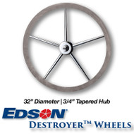 32 Deluxe Leather Covered Rim Stainless Steel Destroyer Wheel - 3/4-inch Tapered Hub