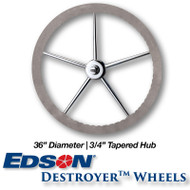 "36"" ComfortGrip Leather Covered Rim Stainless Steel Destroyer Wheel - 3/4-inch Tapered Hub"