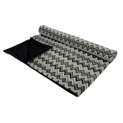 Grey and Black Zigzag Throw Blanket