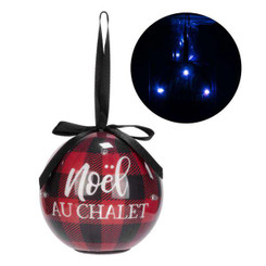 LED Noel au chalet Christmas ball ornament plaid black and red.  Battery included.