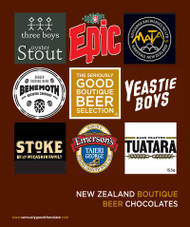 A collection of 9 different chocolates each infused with the beer from New Zealand's best breweries. New Zealand Chocolate and Beer.