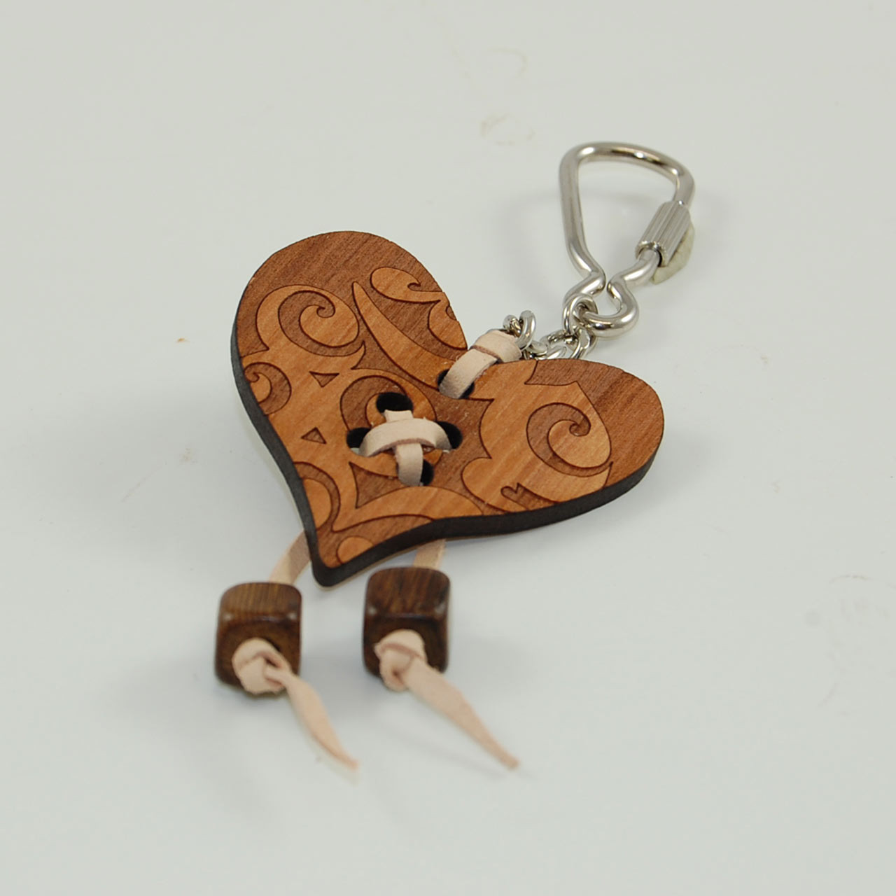 Wooden Heart Shaped Keyring