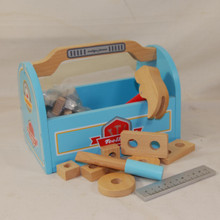 Sturdy wooden pretend tool box for little handy men.
