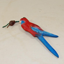 Red Rosella Bird Mobile made from recycled timber. Australian giftware.