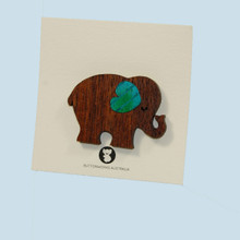 Wooden Elephant Brooch made in Australia.