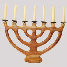 Carved Wood Menorah Candleabra