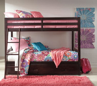 Halanton Dark Brown Twin/Twin Bunk Bed with Under Bed Storage