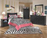 Maribel Black 4 Pc. Dresser, Mirror, Chest & Twin Panel Headboard