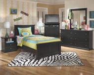 Maribel Black 7 Pc. Dresser, Mirror, Twin Panel Bed & 2 Nightstands