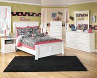 Bostwick Shoals White Dresser, Mirror, Chest & Full Panel Bed