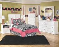 Bostwick Shoals White Dresser, Mirror & Twin Panel Headboard