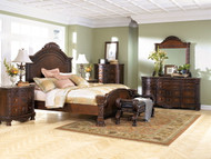 North Shore Dark Brown 5 Pc. Dresser, Mirror & Queen Panel Bed