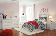 Dreamur Champagne 6 Pc. Dresser, Mirror, Twin Panel Headboard with Bolt on Metal Frame & 2 Nightstands