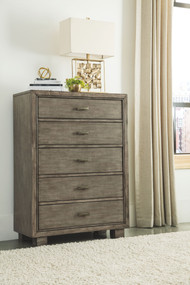 Arnett Gray Five Drawer Chest