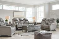 The Man-Den Gray Power Reclining Sofa with ADJ HDRST, Power Reclining Loveseat/CON/ADJ HDRST & Power Recliner/ADJ HDRST