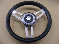 "Uflex Morosini U/CH/B Steering Wheel 13.8"" Black Poly Chrome Hub 3/4"" Shaft Boat"