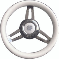 "Uflex Morosini U/CH/W Steering Wheel 13.8"" White Poly Chrome Hub 3/4"" Shaft Boat"