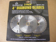"4"" Diamond Blade 3-Pack BLADES for Segmented Dry Cut"