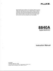8840A Digital Multimeter, Instruction Manual | Fluke