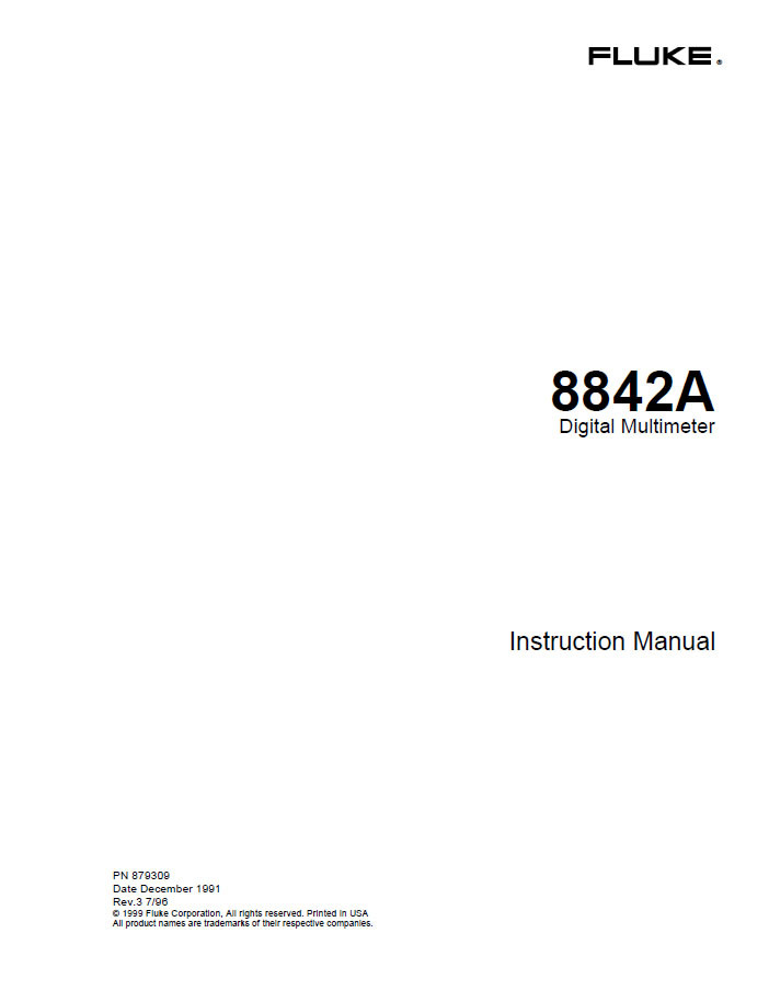 8842A Digital Multimeter, Instruction Manual | Fluke