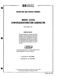 3325A Synthesizer/Function Generator, Operating and Service Manual | HP Agilent Keysight