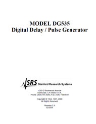 DG535 Digital Delay / Pulse Generator, Operation and Service Manual | Stanford Research Systems