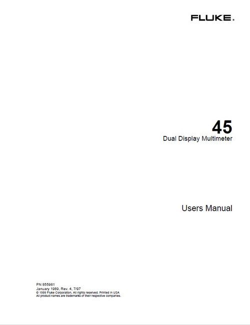 45 Dual Display Multimeter, Users Manual | Fluke
