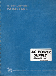 AC Power Supply 016-0072-00, Instruction Manual | Tektronix
