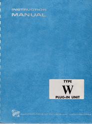 W Plug-In Unit, Instruction Manual | Tektronix