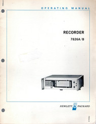 7826A/B Recorder, Operating Manual | HP