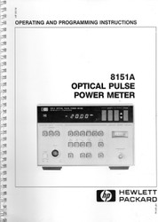 8151A Optical Pulse Power Meter, Operating & Programming Instructions | HP