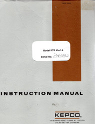 PTR 40-1.4 Power Supplies, Instruction Manual | Kepco