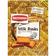Milk Rusk for a tea break  Light, Crispy and Delicious Toast  Ingredients : wheat Flour (72%), Sugar, vegetable fat (Contains one or   more of palm oil, Cotton Seed oil or sesame Oil), Skim Milk   Powder(3%), Butter (1.5%), Milk(1%), Yeast, Salt, Fungal Alpha   Amylase (Enzyme), Sodium Stearoyl 2- lactylate (emulsifier) and   Ascorbic Acid (Anti-Oxidant).  Contains: wheat, Milk and sesame may contain peanuts and tree nuts  Net Wt. 620g (21.8 oz.) (1.3 lb.)