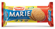 Parle Marie biscuits are light, crispy, tasty, health and irresistible. A   perfect accompaniment with tea or coffee.  Net wt: 5.29 oz. (150g)  Ingredients: Wheat Flour, Sugar, RBD Palm oil, Invert Syrup,   Leavening (Ammonium Bicarbonate, Sodium Bicarbonate), Skim Milk   Powder, Salt, Emulsifiers of Vegetable Origin (Soya Lecithin or Esters   of Mono and Diglycerides and sodium Stearoyl-2-lactylate), Artificial   Milk flavor, mono acid phosphate, Sodium Meta Bisulphite as   preservative and enzyme.  Contains: Wheat, Soya, Milk Ingredients and Sulphites