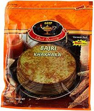 Round very thin and crispy in texture. Khakaras are commomly eaten in the morning with breakfast. This particular Khakara is made with bajra, a millet grain also known as pearl millet. They can be enjoyed with little spread of warm ghee and enclosed with sprinkled masala spice mixture or  with pickle masala. Also enjoy with a thin layer of coriander or mint chutney. Khakaras are great as a light snack with tea, coffee or  coldsoft drinks. Comes in a vaccum sealed pack to retain freshness.
