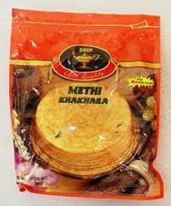 Round, verythin, crispy in texture commonly eaten during in the morning with breakfast.They are made with wheat, oil and salt.This variety is flavored with  methi also known as dry fenugreek leaves.They have a slightly bitter taste. Comes in a vaccum sealed pack with masala spice packet for  sprinkling on Khakhara.