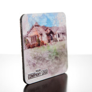 Real estate closing gift masonite drink coaster shown with watercolor rendering.