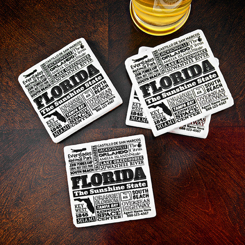 Your State personalized typography drink coaster Real Estate closing gift.