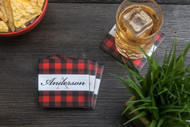 Buffalo Plaid tumbled marble drink coasters with custom last name (set of four)